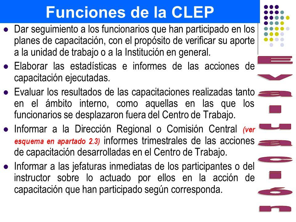 Funciones de la CLEP Dar seguimiento a los funcionarios que han participado en los planes de capacitación, con el propósito de verificar su aporte a l