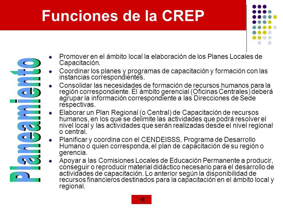Funciones de la CREP Promover en el ámbito local la elaboración de los Planes Locales de Capacitación. Coordinar los planes y programas de capacitació
