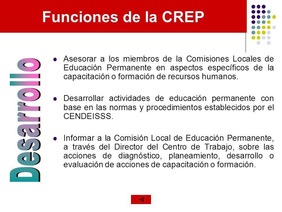 Funciones de la CREP Asesorar a los miembros de la Comisiones Locales de Educación Permanente en aspectos específicos de la capacitación o formación d