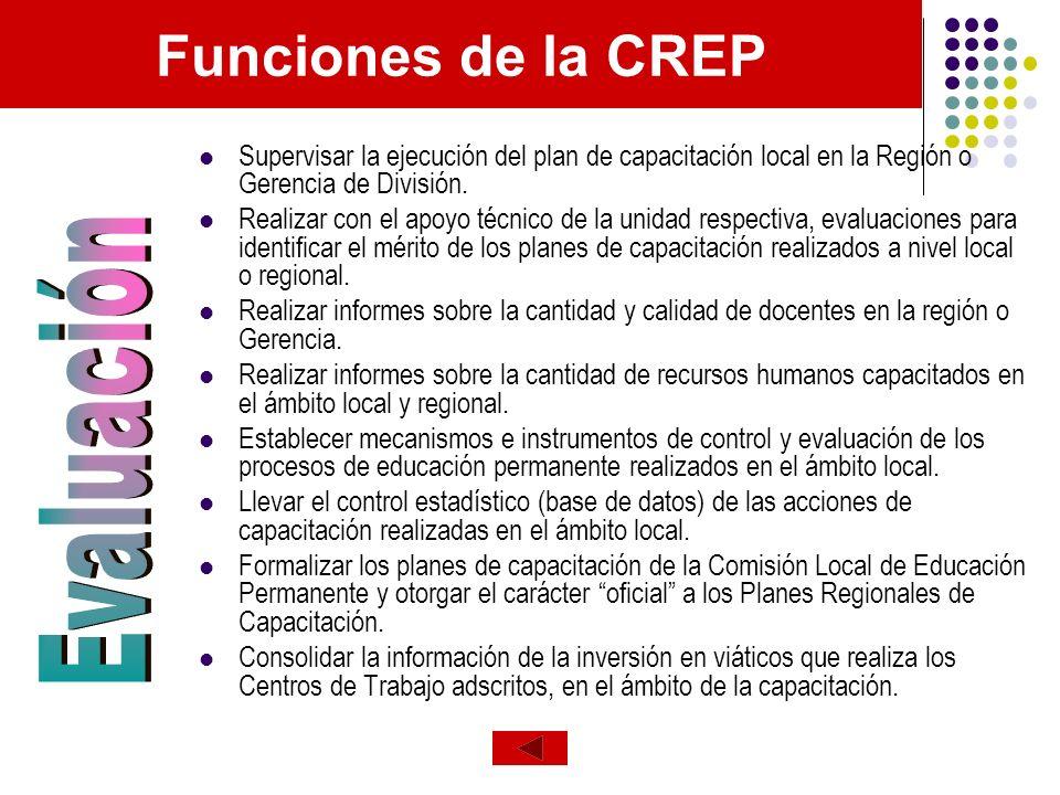 Funciones de la CREP Supervisar la ejecución del plan de capacitación local en la Región o Gerencia de División. Realizar con el apoyo técnico de la u