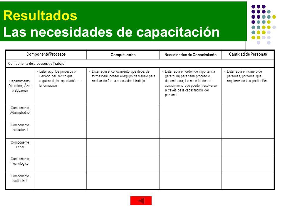 Resultados Las necesidades de capacitación Componente/Procesos CompetenciasNecesidades de Conocimiento Cantidad de Personas Componente de procesos de