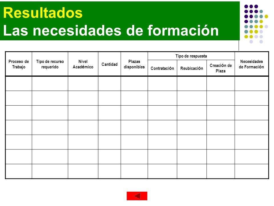 Resultados Las necesidades de formación Proceso de Trabajo Tipo de recurso requerido Nivel Acad é mico Cantidad Plazas disponibles Tipo de respuesta N