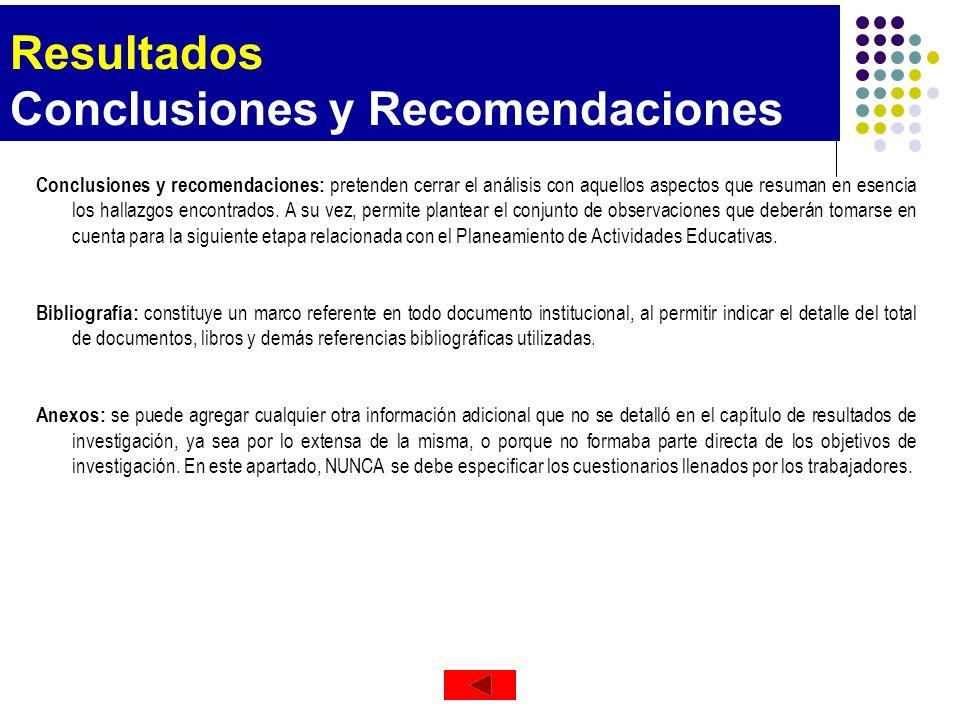 Resultados Conclusiones y Recomendaciones Conclusiones y recomendaciones: pretenden cerrar el análisis con aquellos aspectos que resuman en esencia lo