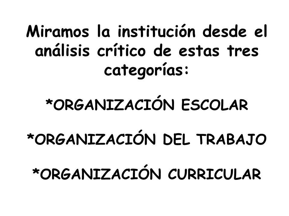 Miramos la institución desde el análisis crítico de estas tres categorías: *ORGANIZACIÓN ESCOLAR *ORGANIZACIÓN DEL TRABAJO *ORGANIZACIÓN CURRICULAR