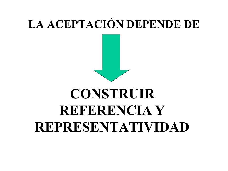 LA ACEPTACIÓN DEPENDE DE CONSTRUIR REFERENCIA Y REPRESENTATIVIDAD