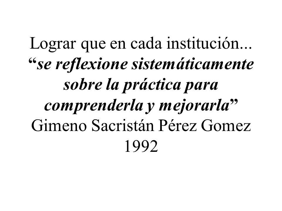 Lograr que en cada institución...se reflexione sistemáticamente sobre la práctica para comprenderla y mejorarla Gimeno Sacristán Pérez Gomez 1992
