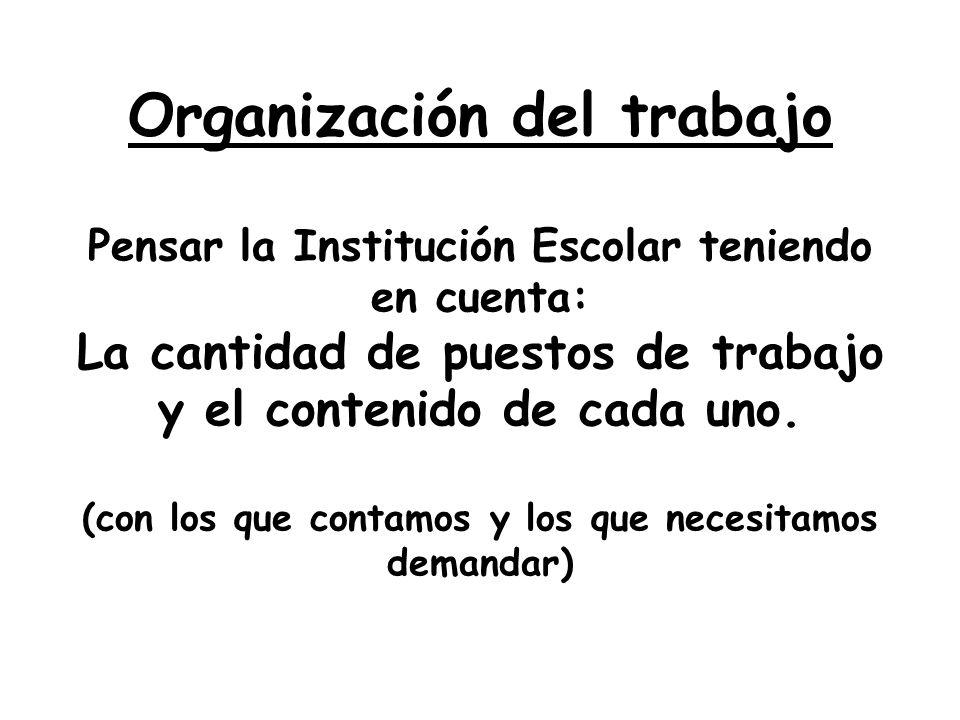 Organización del trabajo Pensar la Institución Escolar teniendo en cuenta: La cantidad de puestos de trabajo y el contenido de cada uno. (con los que
