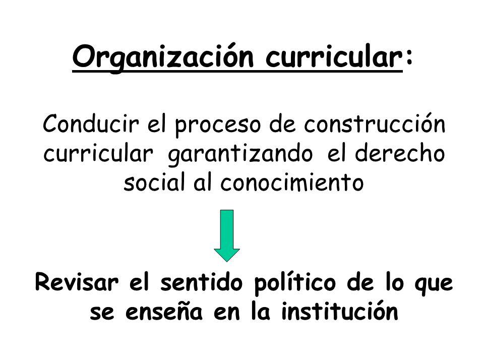 Organización curricular: Conducir el proceso de construcción curricular garantizando el derecho social al conocimiento Revisar el sentido político de