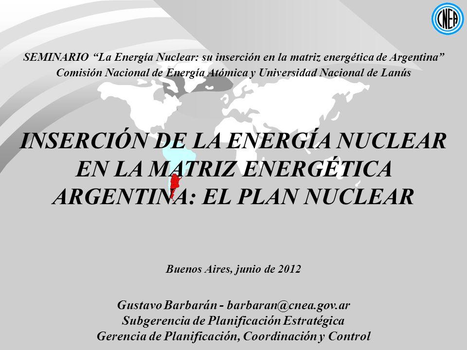 Gustavo Barbarán - barbaran@cnea.gov.ar Subgerencia de Planificación Estratégica Gerencia de Planificación, Coordinación y Control SEMINARIO La Energí