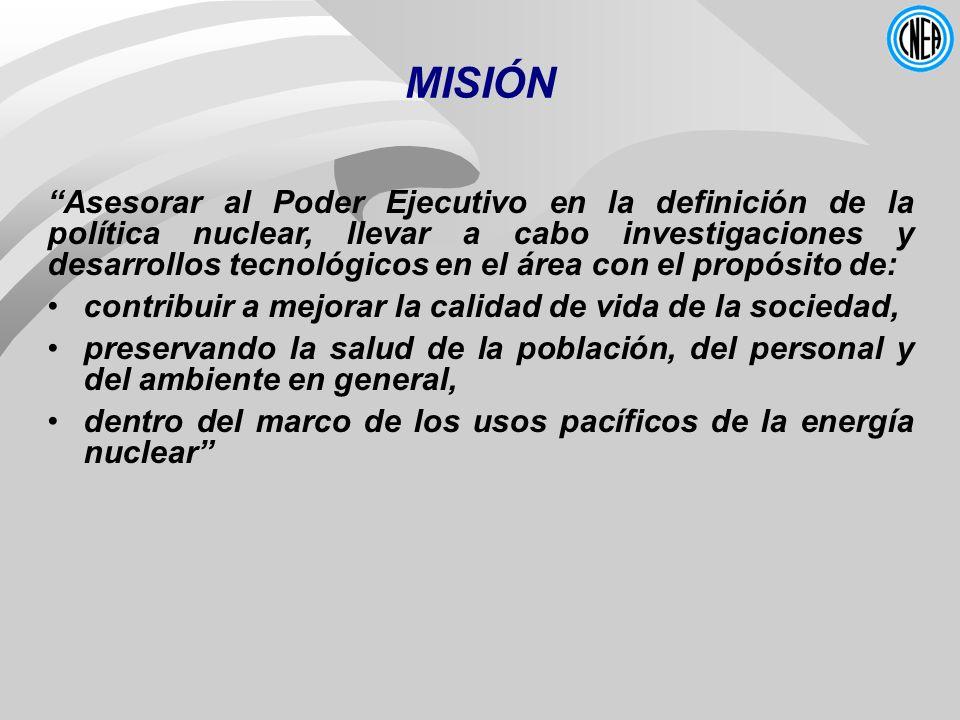 Asesorar al Poder Ejecutivo en la definición de la política nuclear, llevar a cabo investigaciones y desarrollos tecnológicos en el área con el propós