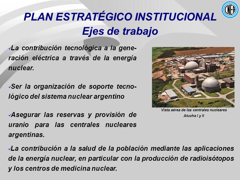 PLAN ESTRATÉGICO INSTITUCIONAL Ejes de trabajo La contribución a la salud de la población mediante las aplicaciones de la energía nuclear, en particul