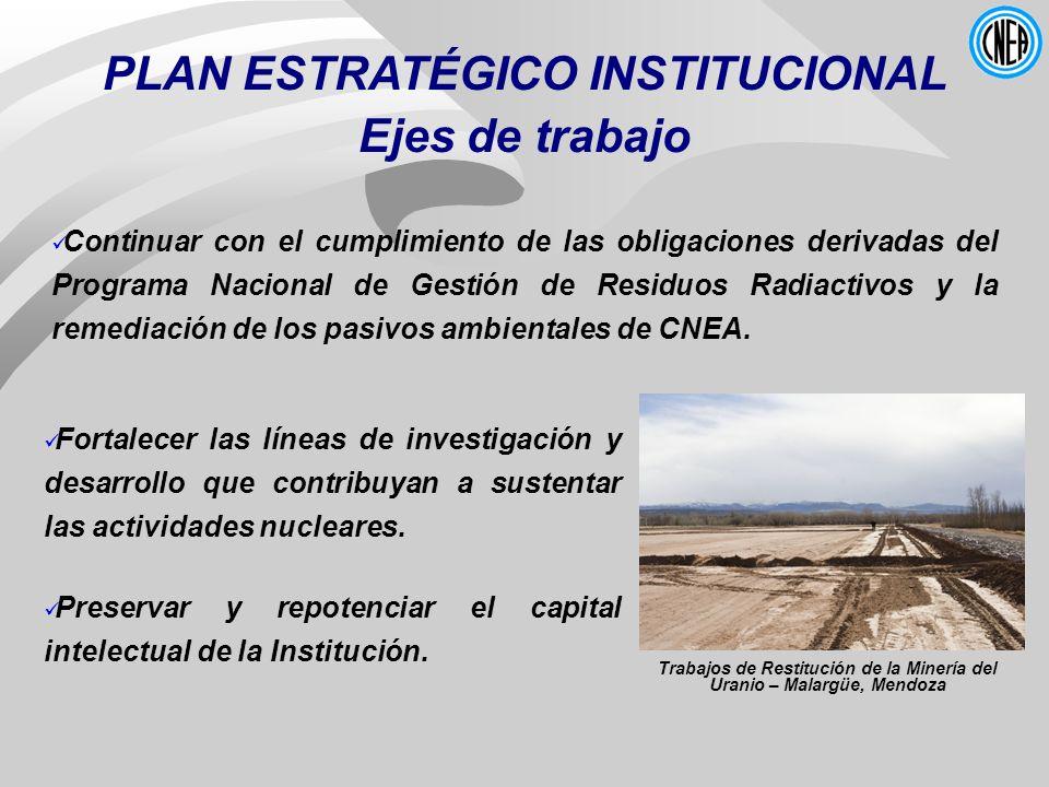PLAN ESTRATÉGICO INSTITUCIONAL Ejes de trabajo Continuar con el cumplimiento de las obligaciones derivadas del Programa Nacional de Gestión de Residuo