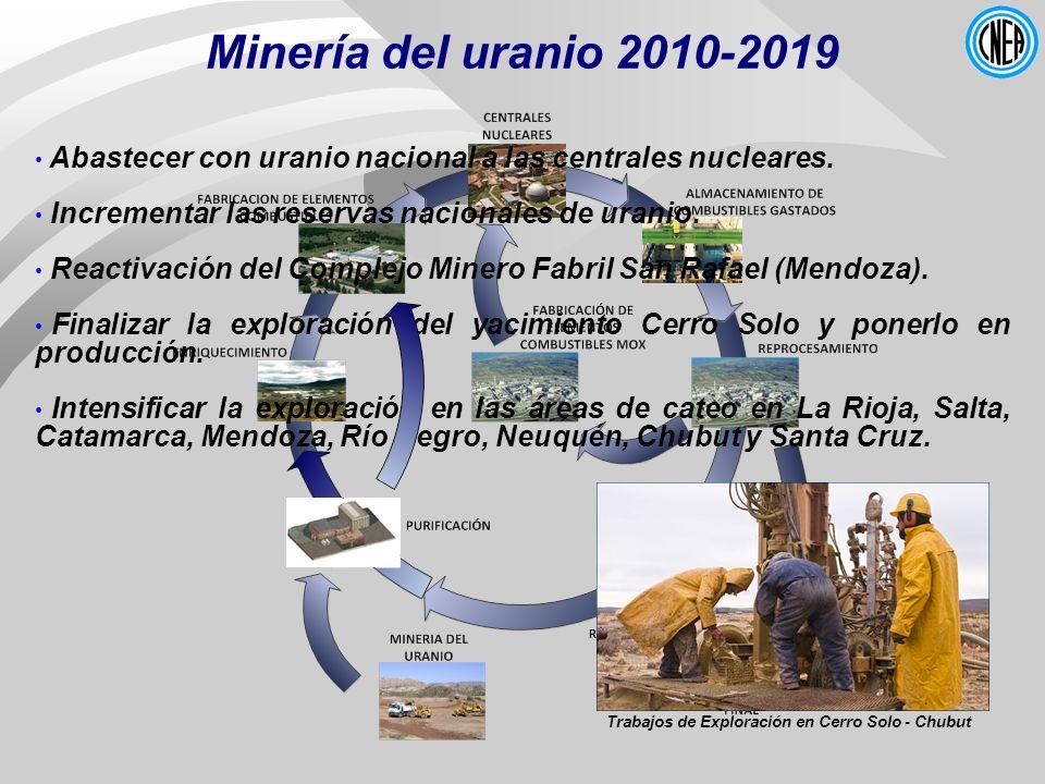 Minería del uranio 2010-2019 Abastecer con uranio nacional a las centrales nucleares. Incrementar las reservas nacionales de uranio. Reactivación del
