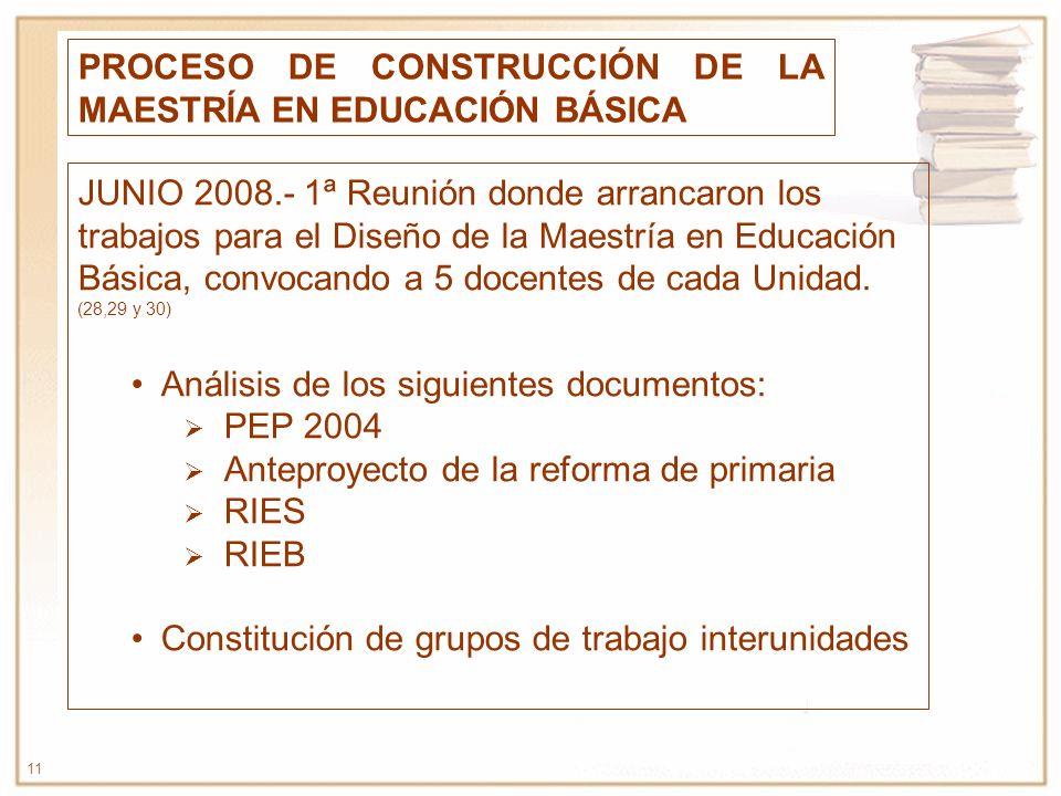 11 PROCESO DE CONSTRUCCIÓN DE LA MAESTRÍA EN EDUCACIÓN BÁSICA JUNIO 2008.- 1ª Reunión donde arrancaron los trabajos para el Diseño de la Maestría en E