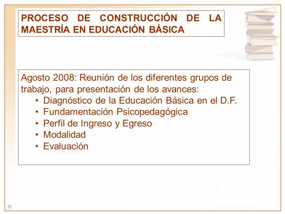 12 PROCESO DE CONSTRUCCIÓN DE LA MAESTRÍA EN EDUCACIÓN BÁSICA Agosto 2008: Reunión de los diferentes grupos de trabajo, para presentación de los avanc