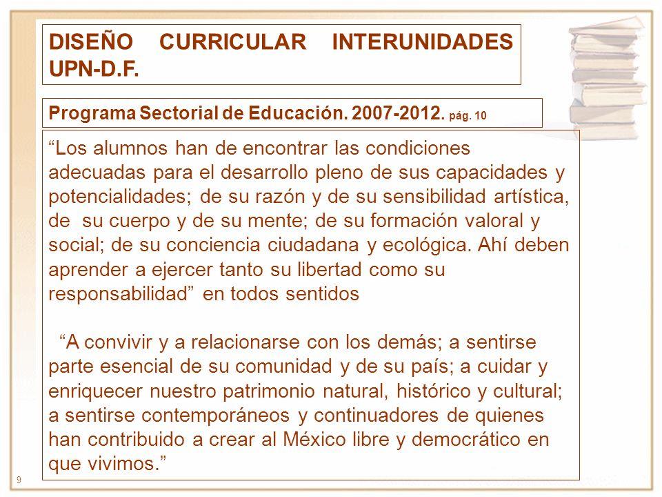 10 PROCESO DE CONSTRUCCIÓN DE LA MAESTRÍA EN EDUCACIÓN BÁSICA ENERO-MAYO 2008.- Reuniones de los Directores de las UPN-DF: Reordenamiento de la oferta educativa Programa sectorial.