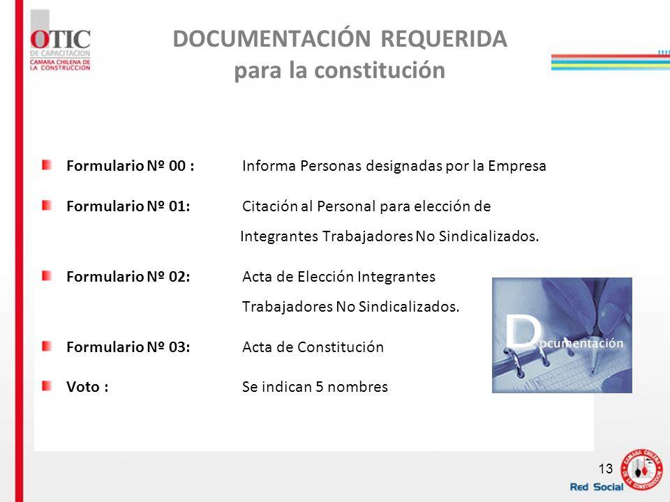 13 DOCUMENTACIÓN REQUERIDA para la constitución Formulario Nº 00 : Informa Personas designadas por la Empresa Formulario Nº 01:Citación al Personal pa