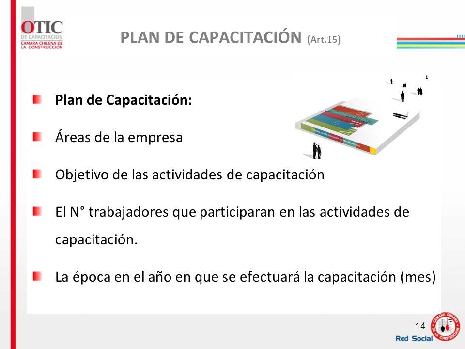 14 PLAN DE CAPACITACIÓN (Art.15) Plan de Capacitación: Áreas de la empresa Objetivo de las actividades de capacitación El N° trabajadores que particip