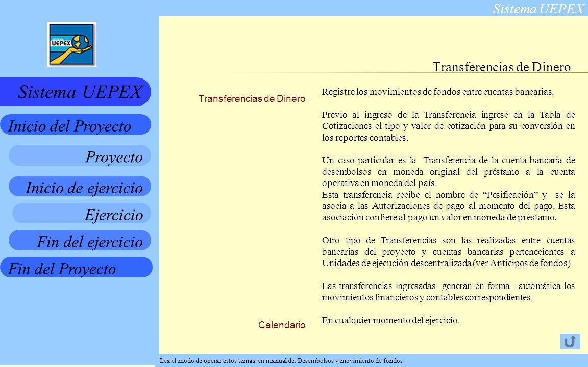 Sistema UEPEX Inicio de ejercicio Ejercicio Fin del ejercicio Fin del Proyecto Inicio del Proyecto Sistema UEPEX Proyecto Transferencias de Dinero Calendario Transferencias de Dinero Registre los movimientos de fondos entre cuentas bancarias.