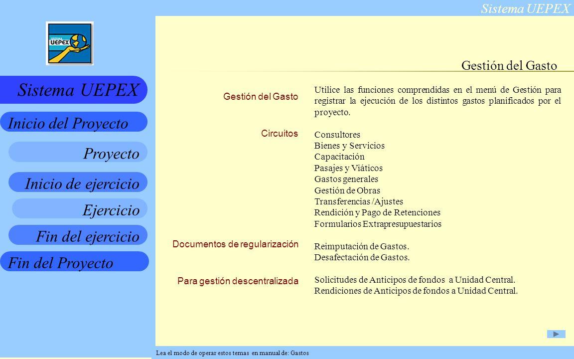 Sistema UEPEX Inicio de ejercicio Ejercicio Fin del ejercicio Fin del Proyecto Inicio del Proyecto Sistema UEPEX Proyecto Gestión del Gasto Circuitos Documentos de regularización Para gestión descentralizada Gestión del Gasto Utilice las funciones comprendidas en el menú de Gestión para registrar la ejecución de los distintos gastos planificados por el proyecto.