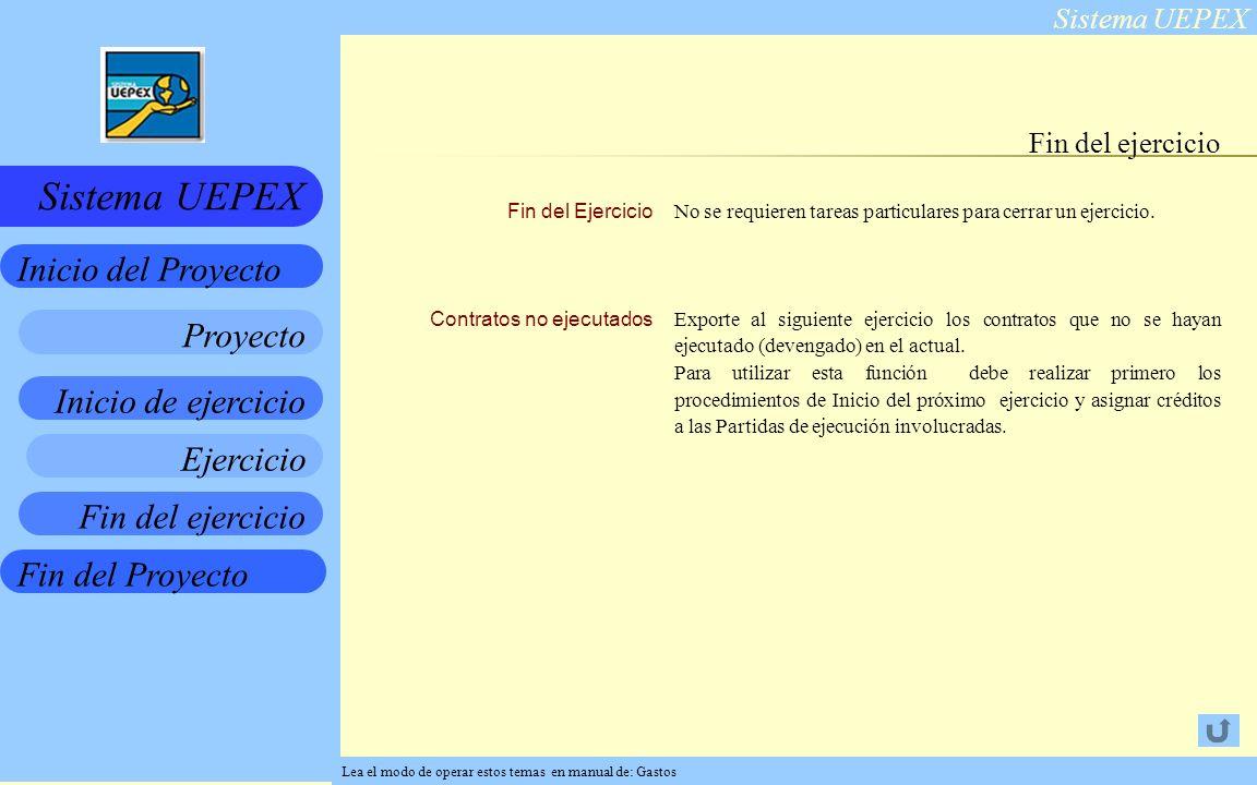 Sistema UEPEX Inicio de ejercicio Ejercicio Fin del ejercicio Fin del Proyecto Inicio del Proyecto Sistema UEPEX Proyecto Fin del Ejercicio Contratos no ejecutados No se requieren tareas particulares para cerrar un ejercicio.