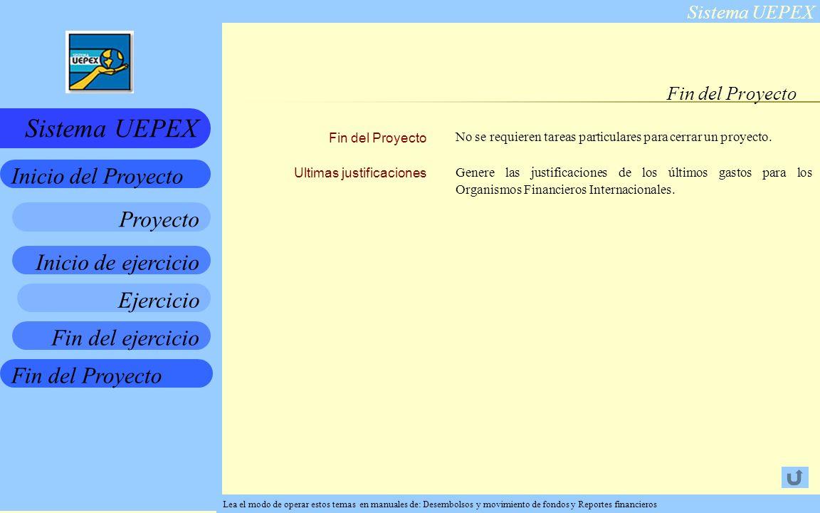 Sistema UEPEX Inicio de ejercicio Ejercicio Fin del ejercicio Fin del Proyecto Inicio del Proyecto Sistema UEPEX Proyecto Fin del Proyecto Ultimas justificaciones No se requieren tareas particulares para cerrar un proyecto.