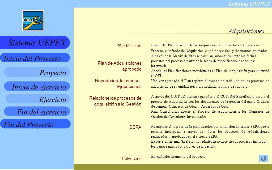 Sistema UEPEX Inicio de ejercicio Ejercicio Fin del ejercicio Fin del Proyecto Inicio del Proyecto Sistema UEPEX Proyecto Adquisiciones Planificación Plan de Adquisiciones aprobado Novedades de avance - Ejecuciones Relacione los procesos de adquisición a la Gestión SEPA Calendario Ingrese la Planificación de las Adquisiciones indicando la Categoría de Proceso, el método de Adquisición y tipo de revisión y los montos estimados.