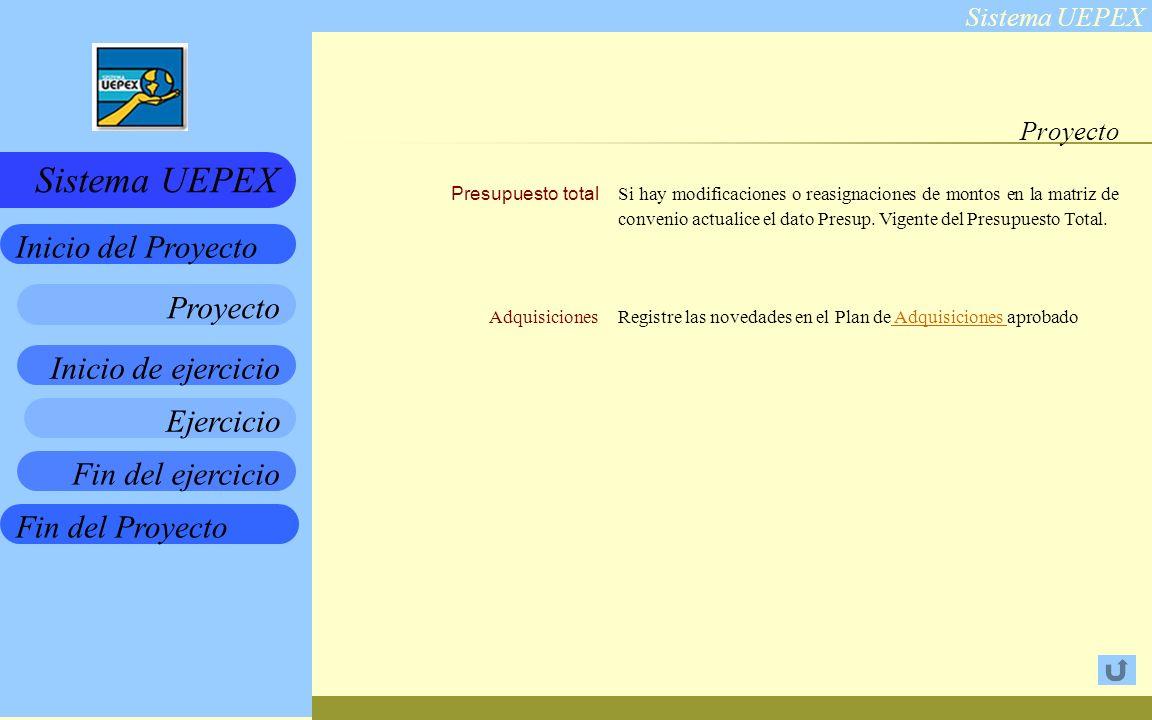 Sistema UEPEX Inicio de ejercicio Ejercicio Fin del ejercicio Fin del Proyecto Inicio del Proyecto Sistema UEPEX Proyecto Presupuesto total Adquisiciones Si hay modificaciones o reasignaciones de montos en la matriz de convenio actualice el dato Presup.