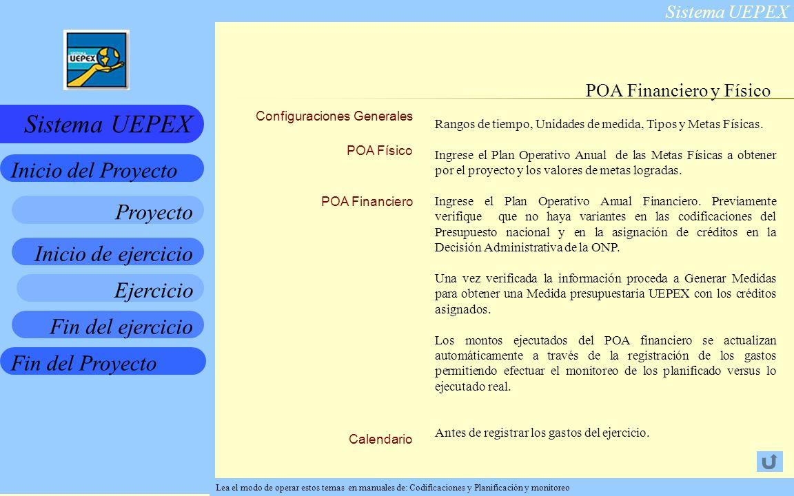 Sistema UEPEX Inicio de ejercicio Ejercicio Fin del ejercicio Fin del Proyecto Inicio del Proyecto Sistema UEPEX Proyecto Configuraciones Generales POA Físico POA Financiero Calendario POA Financiero y Físico Rangos de tiempo, Unidades de medida, Tipos y Metas Físicas.