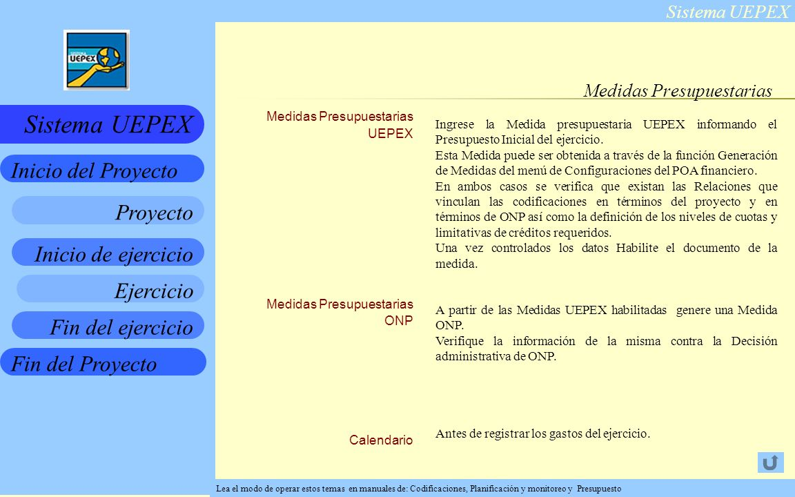 Sistema UEPEX Inicio de ejercicio Ejercicio Fin del ejercicio Fin del Proyecto Inicio del Proyecto Sistema UEPEX Proyecto Medidas Presupuestarias Ingrese la Medida presupuestaria UEPEX informando el Presupuesto Inicial del ejercicio.