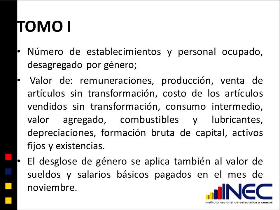 TOMO I Número de establecimientos y personal ocupado, desagregado por género; Valor de: remuneraciones, producción, venta de artículos sin transformac
