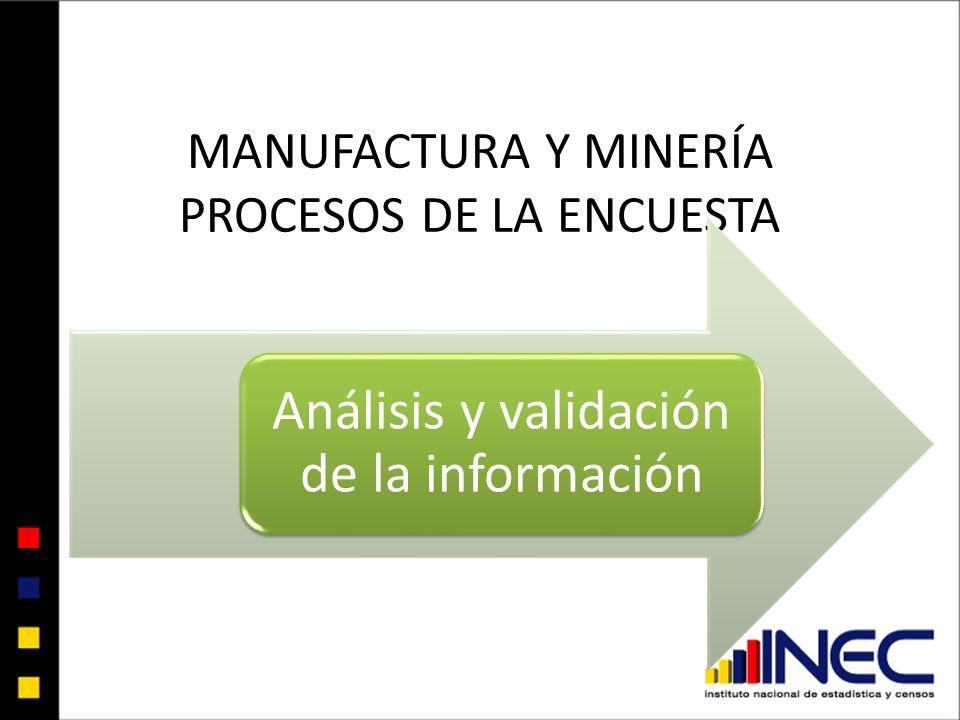 Plan de tabulación Plan de Validación CIIU 3 MANUFACTURA Y MINERÍA - PROCESOS DE LA ENCUESTA Análisis y validación de la información