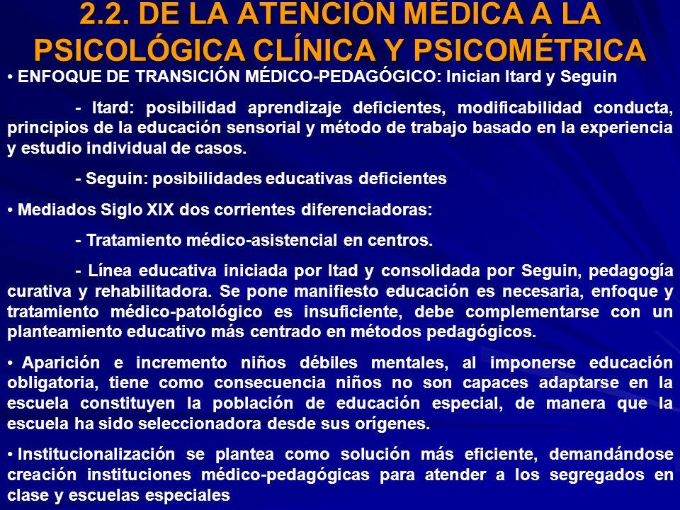 2.2. DE LA ATENCIÓN MÉDICA A LA PSICOLÓGICA CLÍNICA Y PSICOMÉTRICA ENFOQUE DE TRANSICIÓN MÉDICO-PEDAGÓGICO: Inician Itard y Seguin - Itard: posibilida