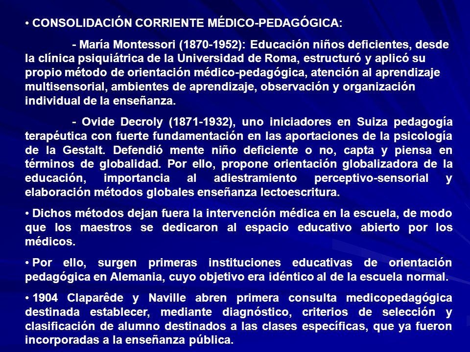 CONSOLIDACIÓN CORRIENTE MÉDICO-PEDAGÓGICA: - María Montessori (1870-1952): Educación niños deficientes, desde la clínica psiquiátrica de la Universida