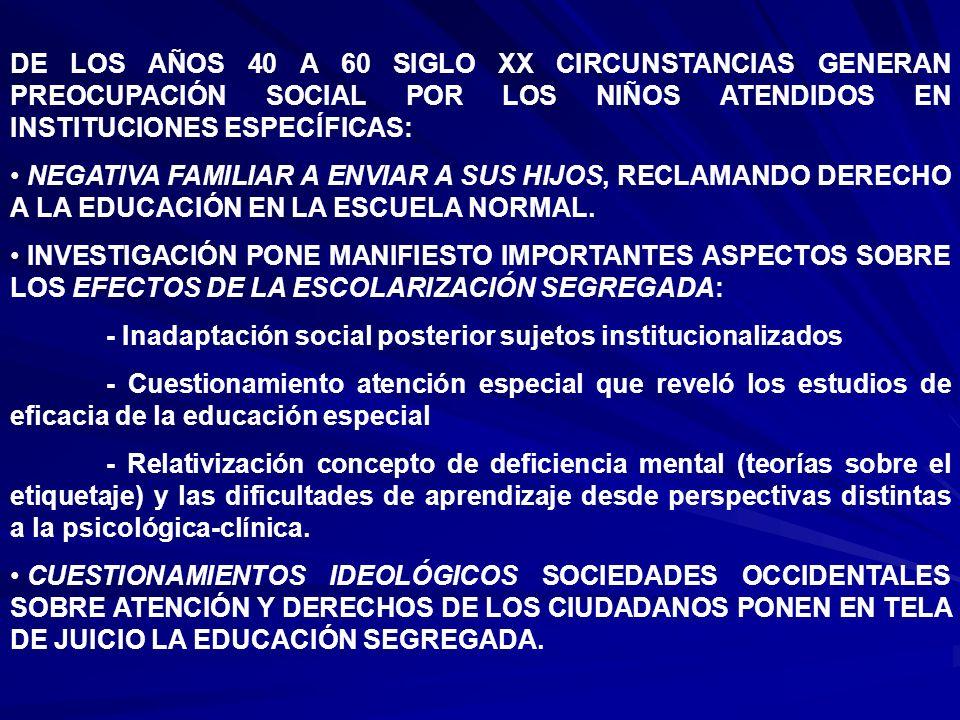 DE LOS AÑOS 40 A 60 SIGLO XX CIRCUNSTANCIAS GENERAN PREOCUPACIÓN SOCIAL POR LOS NIÑOS ATENDIDOS EN INSTITUCIONES ESPECÍFICAS: NEGATIVA FAMILIAR A ENVI
