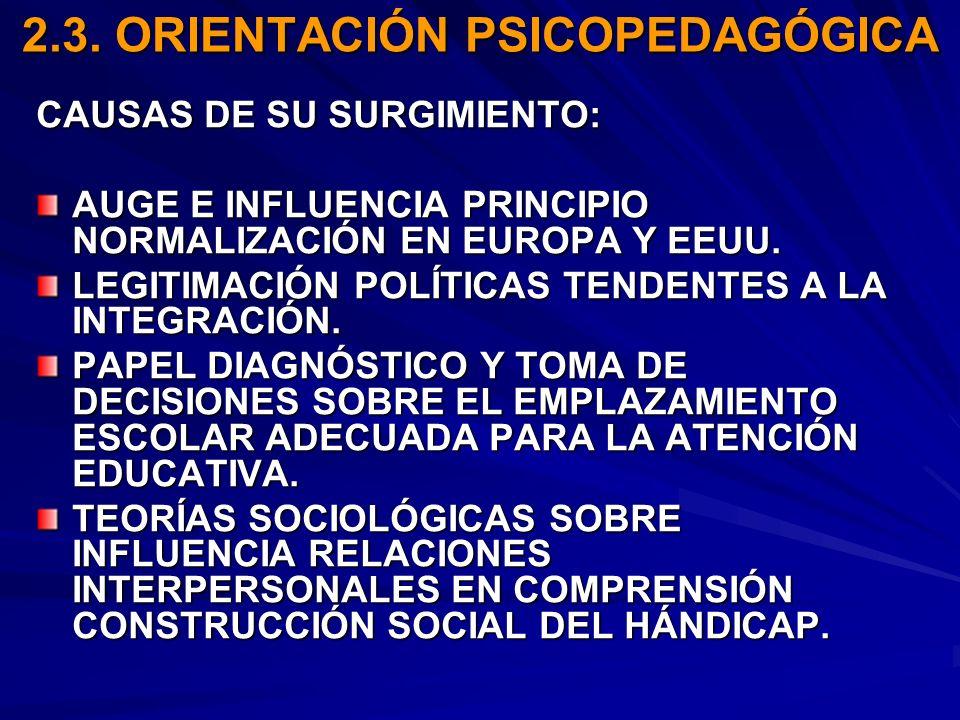 2.3. ORIENTACIÓN PSICOPEDAGÓGICA CAUSAS DE SU SURGIMIENTO: AUGE E INFLUENCIA PRINCIPIO NORMALIZACIÓN EN EUROPA Y EEUU. LEGITIMACIÓN POLÍTICAS TENDENTE