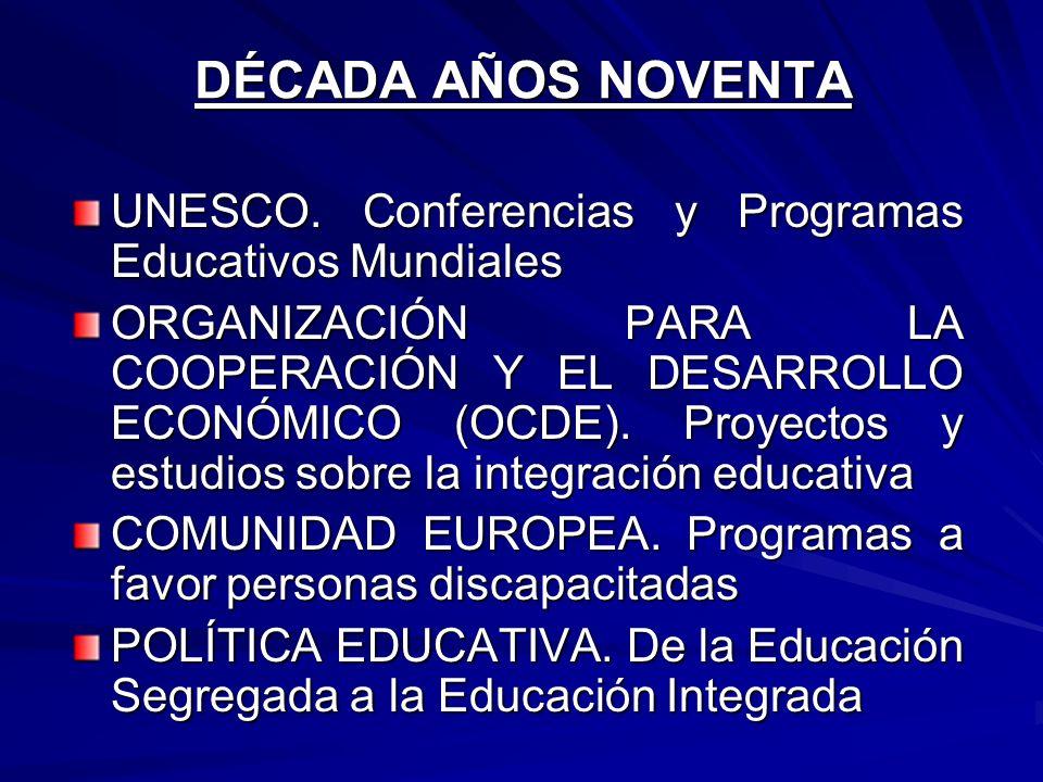 DÉCADA AÑOS NOVENTA UNESCO. Conferencias y Programas Educativos Mundiales ORGANIZACIÓN PARA LA COOPERACIÓN Y EL DESARROLLO ECONÓMICO (OCDE). Proyectos