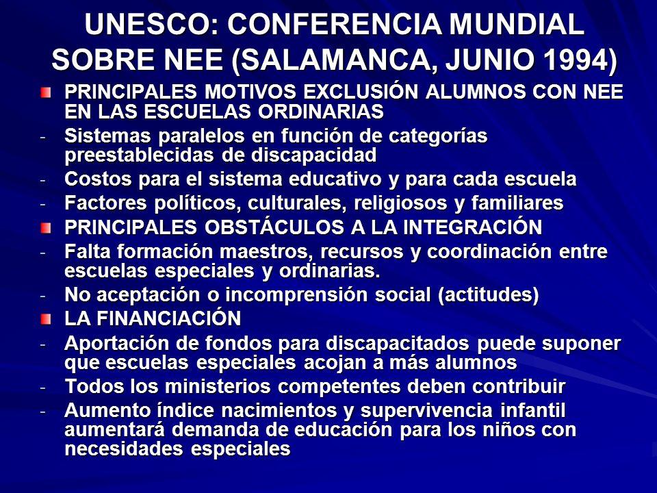UNESCO: CONFERENCIA MUNDIAL SOBRE NEE (SALAMANCA, JUNIO 1994) PRINCIPALES MOTIVOS EXCLUSIÓN ALUMNOS CON NEE EN LAS ESCUELAS ORDINARIAS - Sistemas para