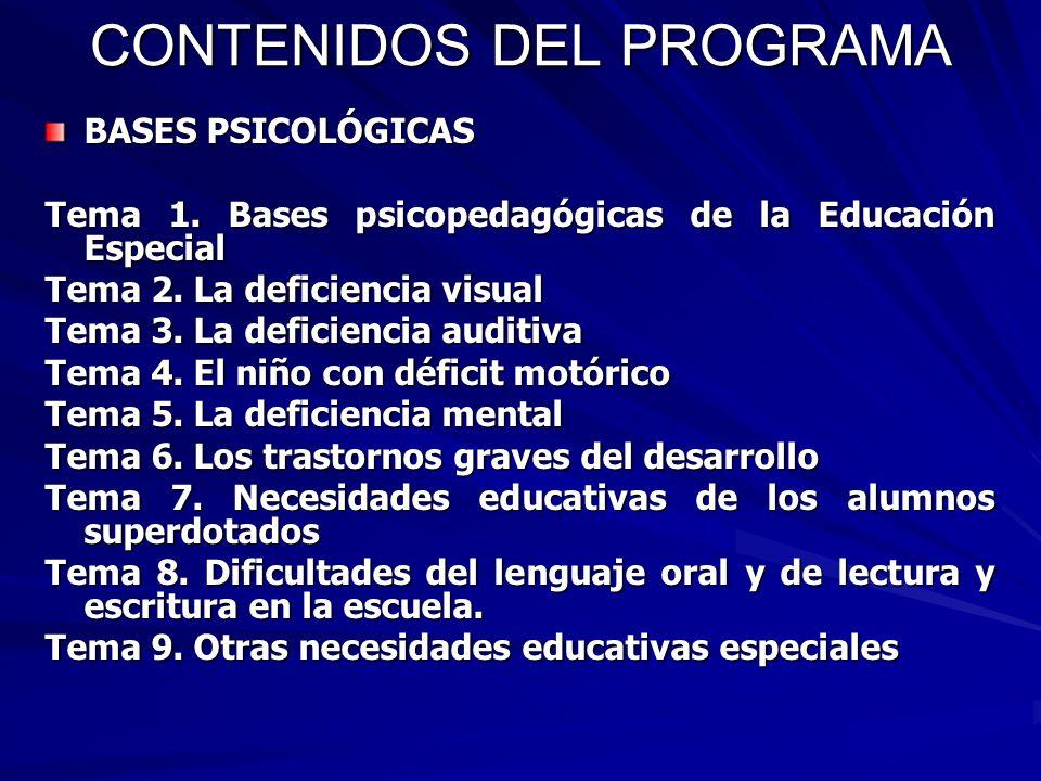 CONTENIDOS DEL PROGRAMA BASES PSICOLÓGICAS Tema 1. Bases psicopedagógicas de la Educación Especial Tema 2. La deficiencia visual Tema 3. La deficienci