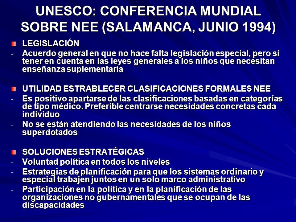 UNESCO: CONFERENCIA MUNDIAL SOBRE NEE (SALAMANCA, JUNIO 1994) LEGISLACIÓN - Acuerdo general en que no hace falta legislación especial, pero sí tener e