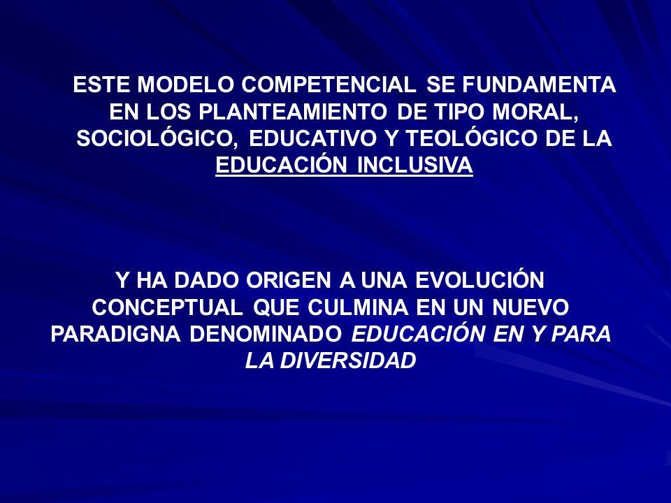 ESTE MODELO COMPETENCIAL SE FUNDAMENTA EN LOS PLANTEAMIENTO DE TIPO MORAL, SOCIOLÓGICO, EDUCATIVO Y TEOLÓGICO DE LA EDUCACIÓN INCLUSIVA Y HA DADO ORIG