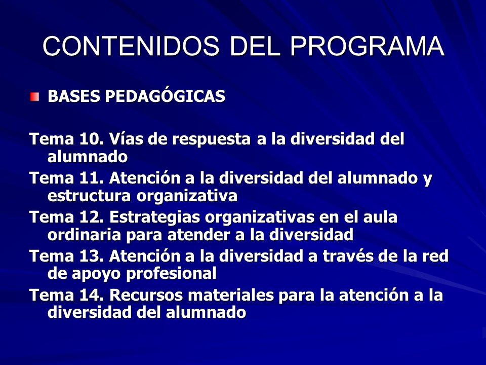 CONTENIDOS DEL PROGRAMA BASES PEDAGÓGICAS Tema 10. Vías de respuesta a la diversidad del alumnado Tema 11. Atención a la diversidad del alumnado y est