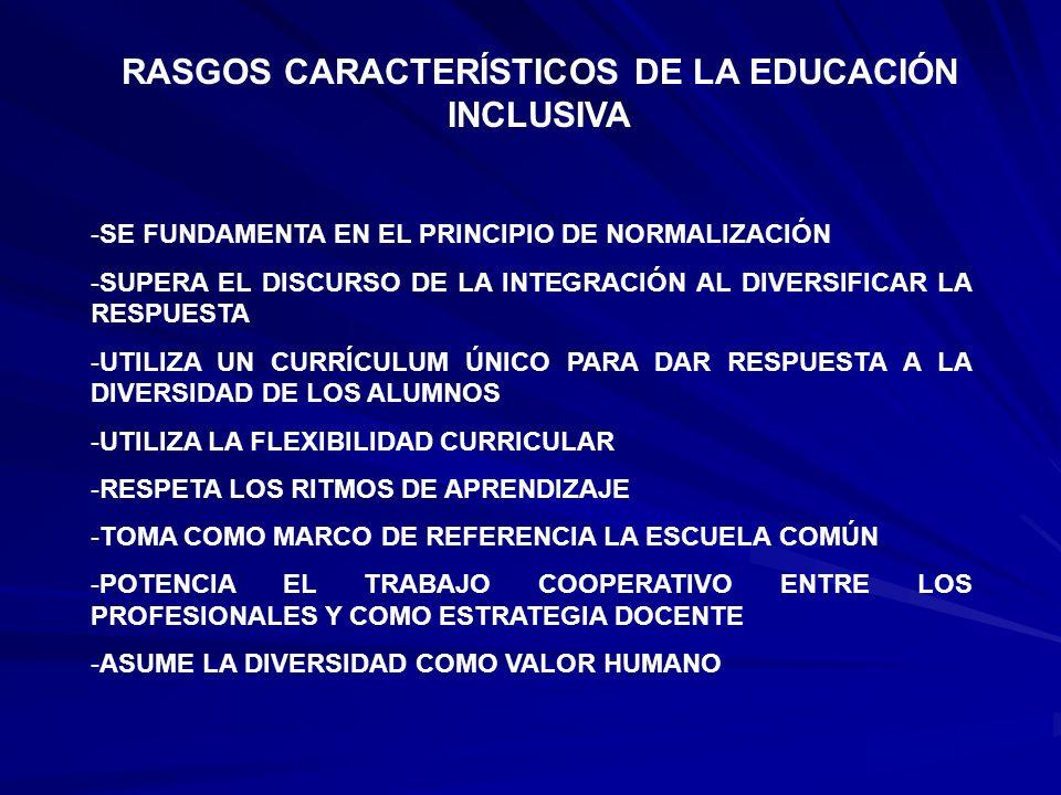 RASGOS CARACTERÍSTICOS DE LA EDUCACIÓN INCLUSIVA -SE FUNDAMENTA EN EL PRINCIPIO DE NORMALIZACIÓN -SUPERA EL DISCURSO DE LA INTEGRACIÓN AL DIVERSIFICAR