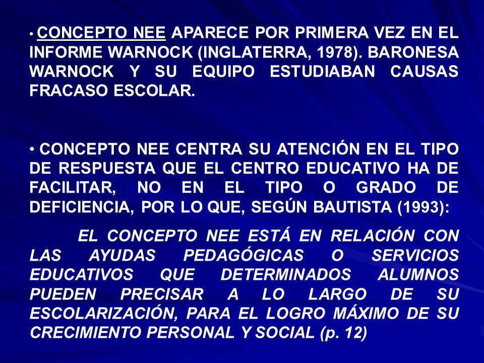 CONCEPTO NEE APARECE POR PRIMERA VEZ EN EL INFORME WARNOCK (INGLATERRA, 1978). BARONESA WARNOCK Y SU EQUIPO ESTUDIABAN CAUSAS FRACASO ESCOLAR. CONCEPT
