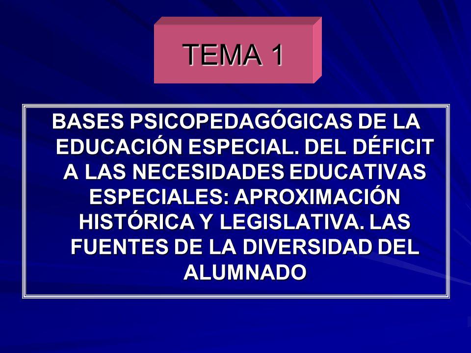 TEMA 1 BASES PSICOPEDAGÓGICAS DE LA EDUCACIÓN ESPECIAL. DEL DÉFICIT A LAS NECESIDADES EDUCATIVAS ESPECIALES: APROXIMACIÓN HISTÓRICA Y LEGISLATIVA. LAS