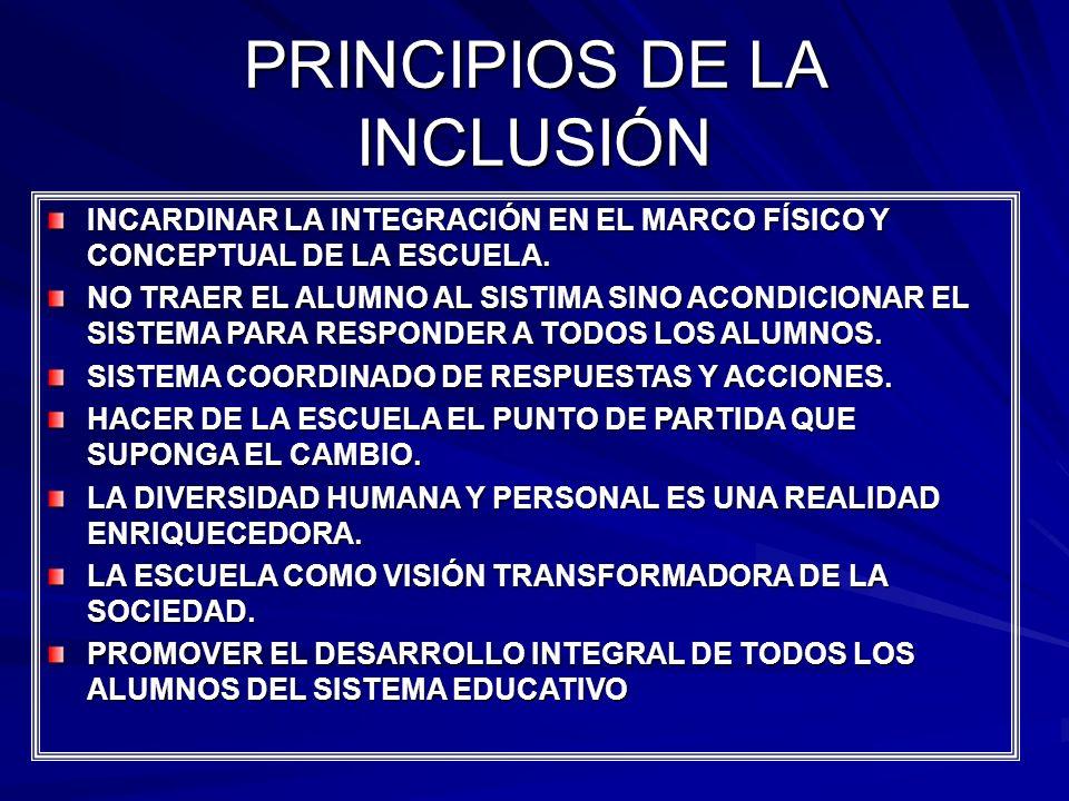 PRINCIPIOS DE LA INCLUSIÓN INCARDINAR LA INTEGRACIÓN EN EL MARCO FÍSICO Y CONCEPTUAL DE LA ESCUELA. NO TRAER EL ALUMNO AL SISTIMA SINO ACONDICIONAR EL