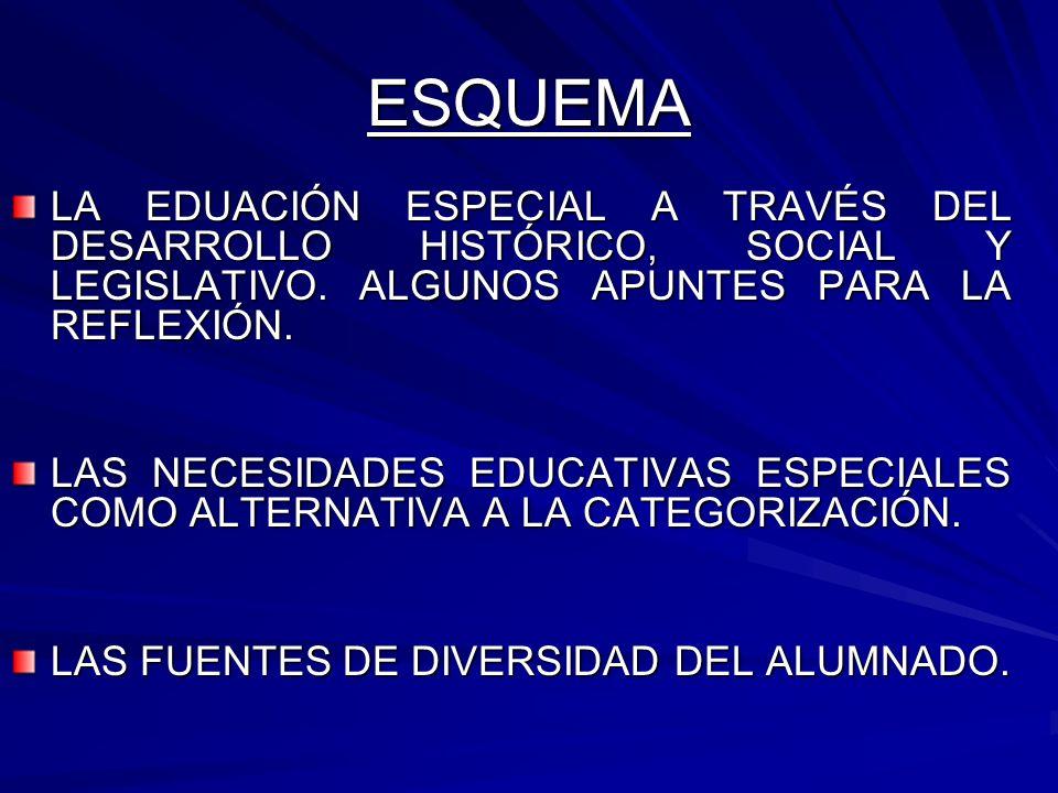 ESQUEMA LA EDUACIÓN ESPECIAL A TRAVÉS DEL DESARROLLO HISTÓRICO, SOCIAL Y LEGISLATIVO. ALGUNOS APUNTES PARA LA REFLEXIÓN. LAS NECESIDADES EDUCATIVAS ES