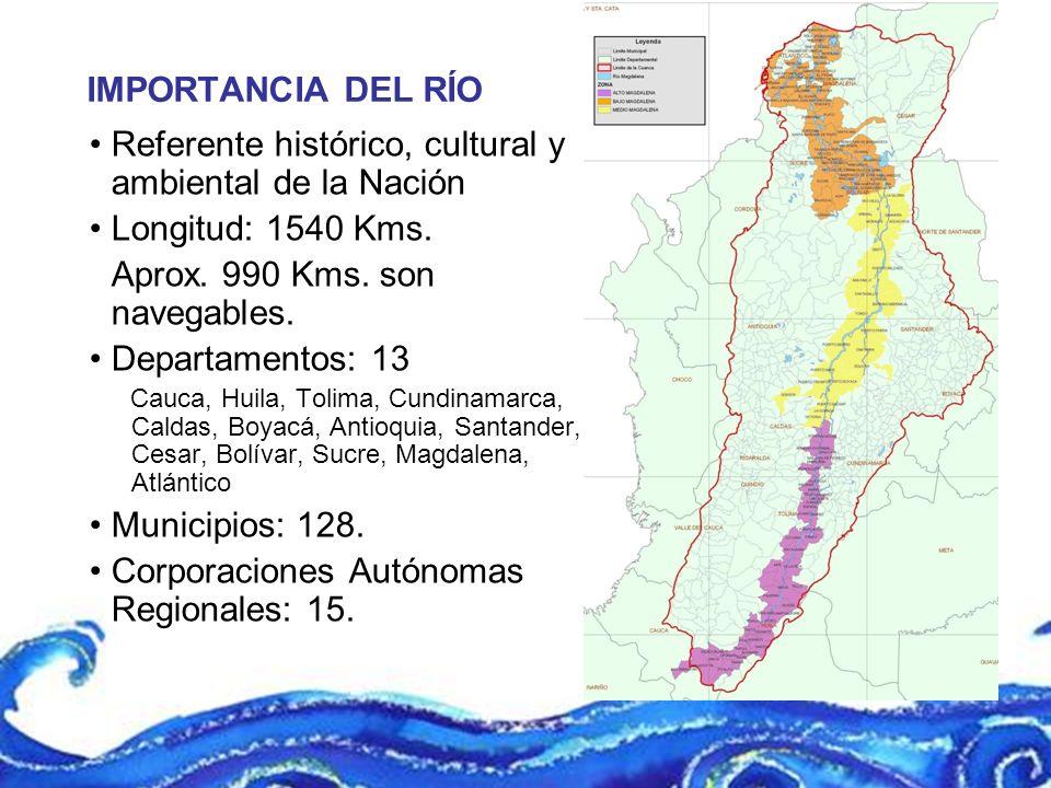 IMPORTANCIA DEL RÍO Referente histórico, cultural y ambiental de la Nación Longitud: 1540 Kms. Aprox. 990 Kms. son navegables. Departamentos: 13 Cauca