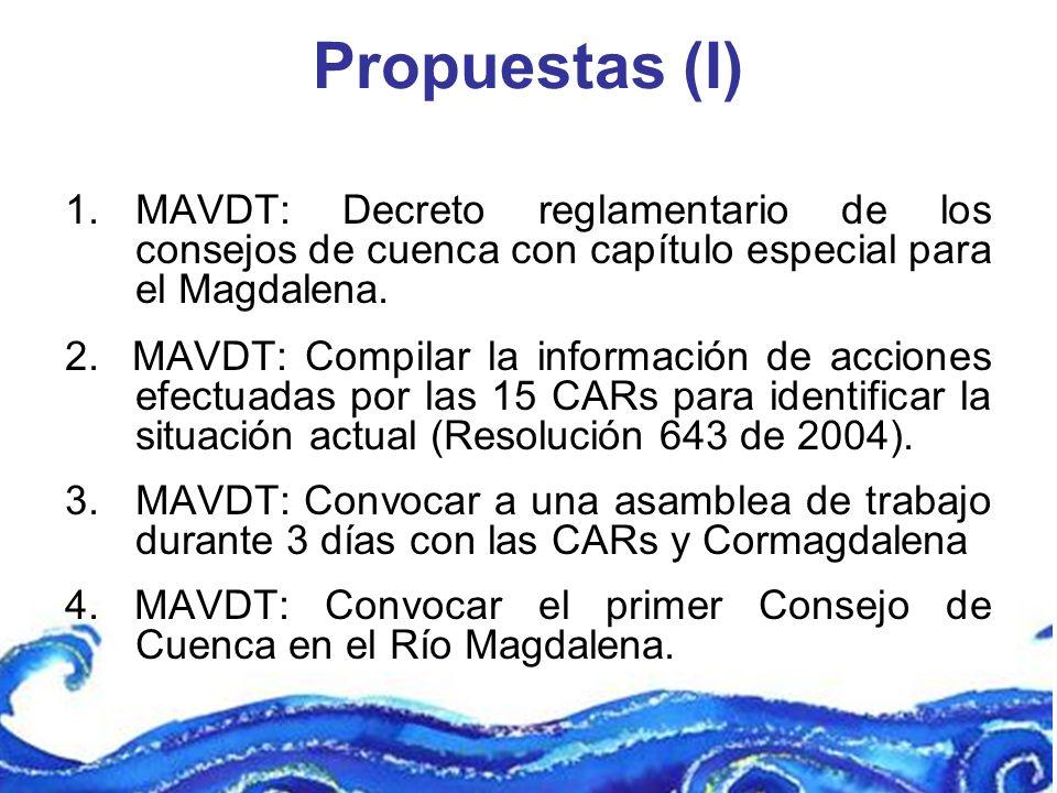 Propuestas (I) 1.MAVDT: Decreto reglamentario de los consejos de cuenca con capítulo especial para el Magdalena. 2. MAVDT: Compilar la información de