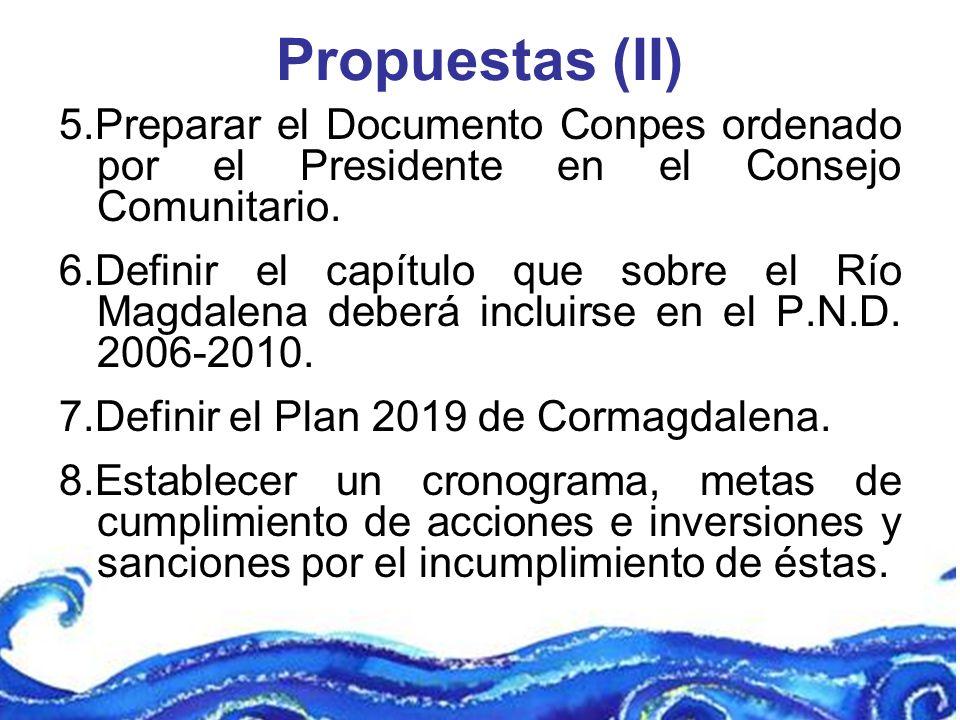 Propuestas (II) 5.Preparar el Documento Conpes ordenado por el Presidente en el Consejo Comunitario. 6.Definir el capítulo que sobre el Río Magdalena